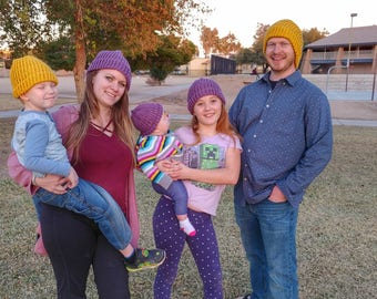 Yellow Loom Knit Hat | Handmade for Children/Preteens | Hand 'n' Loom Custom Knit Hats - Beanies Crafted Using Lion Brand Yarn