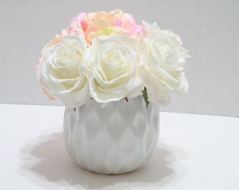 Pink and White Rose Flower Arrangement
