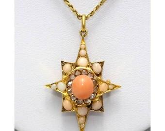 Coral and Diamond Pendant