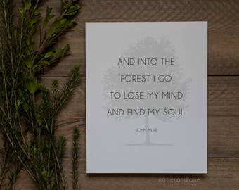 And Into The Forest I Go - John Muir Quote - Paper Print - Wall Art Home Decor - Wanderlust and Outdoors - Travel Lover Gift