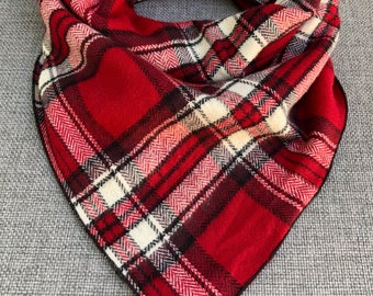Red Flannel Dog Bandana, Tie Dog Bandana, Flannel Bandana