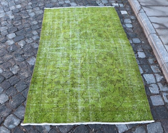 Green Color Overdyed Rug Free Shipping 3.6 x 6.2 ft. decorative area rug, handknotted turkish rug, anatolian rustic rug, boho rug, MB311