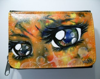 Manga eye, painted purse, orange, wallet, wallet, black