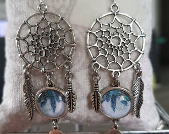 DreamCatcher with cabochon earring charm and feathers