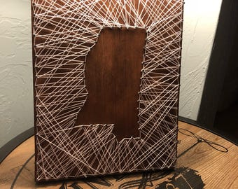 Custom State Silhouette String Art Rustic Wooden Decor Sign