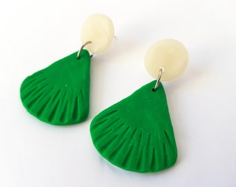 Green and White Fan Dangles