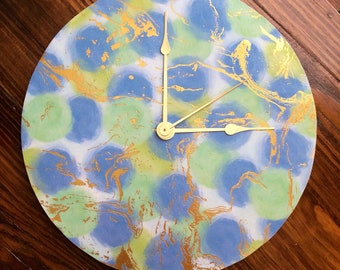 "Abstract Polka Dot/ Gold Clock~ Blue and Green Polka Dots with Gold Accents 10"" Clock~ Home Decor- Clock Decor"
