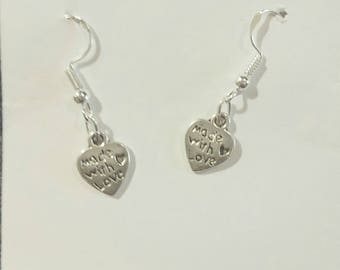 Sterling silver made with love earrings
