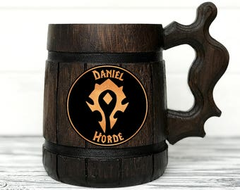 Warcraft Horde Mug World Of Warcraft Mug Horde Gift. WOW Gift. Gamer Gift World Of Warcraft Gifts Custom Beer Steins Wooden Beer Tankard #69