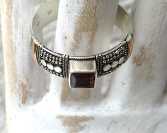 Sterling Silver with Rose Gold Inlay with Garnet/Aquamarine/Amethyst gemstone
