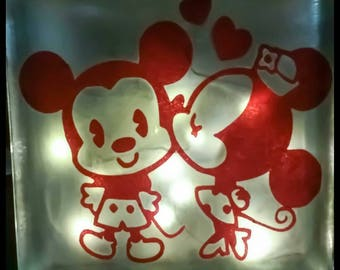 Mickey Mouse and Minnie Mouse - Kissing - Valentines Gift   8x4x8 Glass Block handcrafted, vinyl,  etched, fairy lights