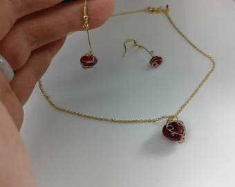 Read heart neclace and earring set