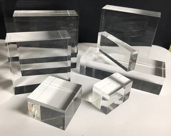 """Clear Lucite/acrylic Solid Block 10"""" wide x 10"""" long x 2"""" thick"""