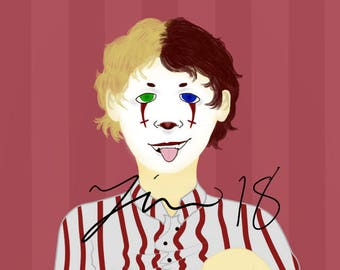 Macabre Digital Clown Painting