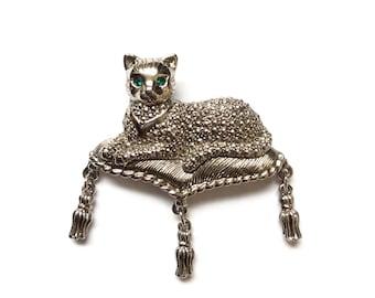 Silver Cat Pin with Green Rhinestone Eyes Circa 1950s