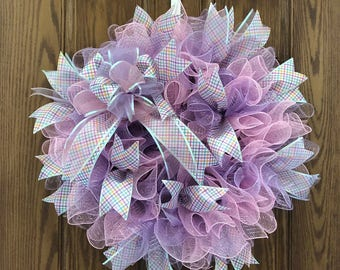 """23"""" Handmade Spring/Easter Deco Mesh Hanging Door Wreath with Bow & Ribbons"""