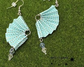 Folding fan-shaped earrings(komon pattern)