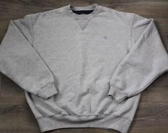 Basic Champion Sweatshirt, Gray, Mens Large, Crew Neck