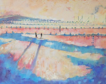 "Panoramic Painting. "" Hunstanton Seashore at Sunset"". 36 "" x 18"". Modern Art. Contemporary Canvas of a  Beach Scene."