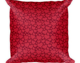 Red hearts-Square Pillow,Printed cover with stuffing, USA, printful