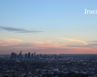 Downtown Los Angeles Sunset Photo Print Custom Sizes Griffith Park LA