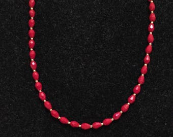 Red beaded necklace- perfect for Valentines day!