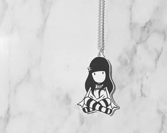 Punk Rock Emo Girl Pendant | Shrink Plastic | Necklace