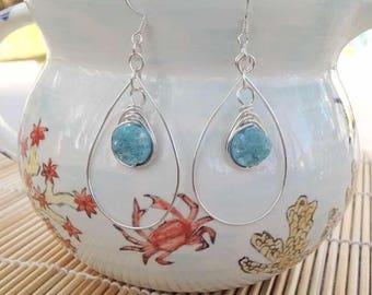 Blue Druzy Herringbone wrapped silver hoop Earring