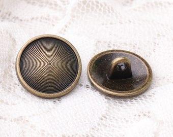 10pcs 15*7mm multi-circle spiral buttons round metal zinc alloy buttons bronze buttons shank buttons