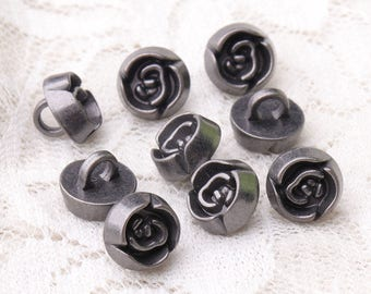 10pcs 9*7mm rose buttons fashion buttons round metal buttons light black shank buttons for clothing buttons