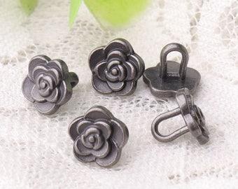 flower buttons 10pcs 8*8mm metal light black buttons shank buttons tiny fashion beautiful buttons