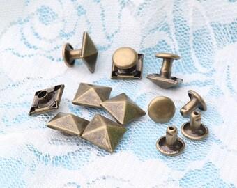 Iron rivets 10*9mm 50pcs Square Pyramids Rivets brass rivets clothes garment rivet studs shoes clothes accessories