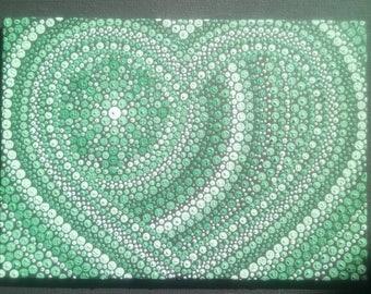 Heart mandala, Hand dotted painting