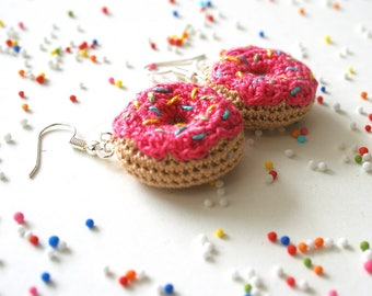 Pink Donut Earrings. Crochet Earrings. Amigurumi Earrings. Gift for friend. Valentines day gift for her. Birthday gift for her.