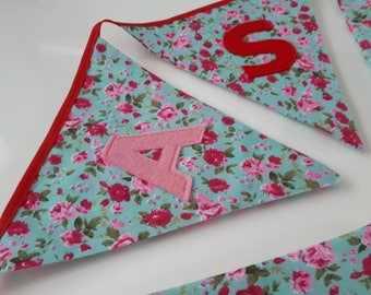 Personalised Fabric Bunting / Beautiful Handmade Gift for Baby Girl / Pink Spots Stripes