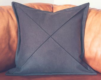 Hand sewn throw pillow cover, wool, 18 inches x 18 inches