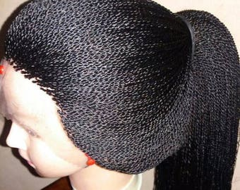 Synthetic  28 inch lace Front Wig Cap Twist Braid Wigs for Black Women Natural Black Full Wig 325g