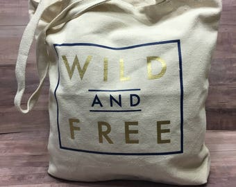 Wild and Free Personalized Tote Bag and Wet/Dry Bag
