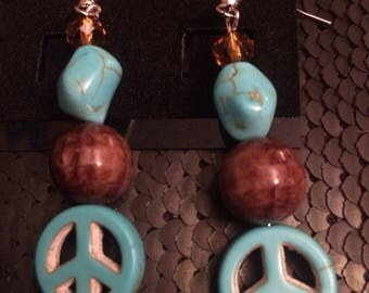 Peace Sign and Wood Beaded Earrings