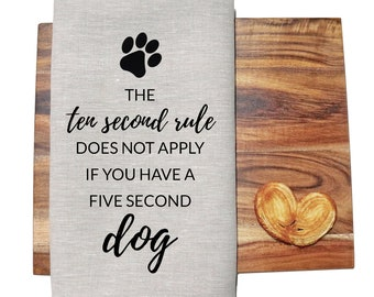 Five Second Dog | Funny Paw Print Linen Kitchen Tea Towel