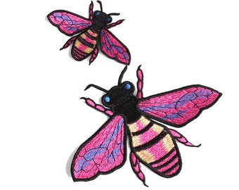 embroidery embroidered bee patches,pink bee badges,bee appliques for denim jeans jackets,CC patches,hats patches,patch for blouse