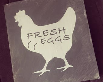12x12 Wood Sign : Fresh Eggs