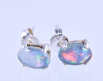 Opal Earrings, 925 Sterling Silver, Blue Opal Stud Earrings