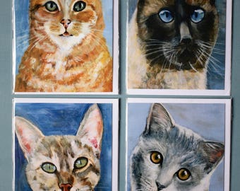 Pack of 4 Colourful assorted cat breed greetings cards ,Blank,ginger tom ,siamese,tabby,bristish blue
