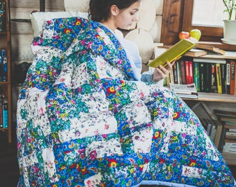 modern style,warm patchwork quilt, blue,flowers, patchwork,soft blanket, handmade gift,a gift to a woman, a cozy house,technique Watercolor