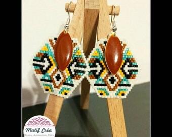 Earrings in weaving beads miyuki ethnic style