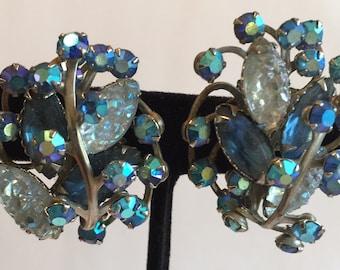 Vintage Large Blue Rhinstones, Blue Molded Glass & Blue Aurora Borealis Rhinestones Intertwined Earrings