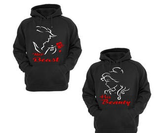 Hoodies for Couple Her Beast and His Beauty Cotton Pullover Hooded Sweatshirt