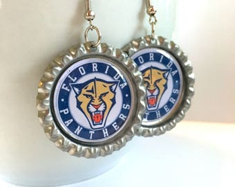 Florida PANTHERS Handcrafted Hockey Earrings