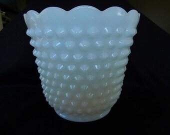 Vintage Fire King Hobnail Flower Vase/Milk Glass